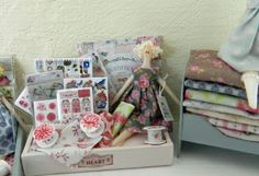 Dollhouse Miniature. Tilda Inspired Display Box with Doll and Accessories.