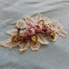 Antique French silk ombre metallic edge ribbonwork piece & lace applique