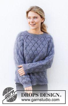 Drops Design, Cardigans For Women, Jackets For Women, Drops Kid Silk, Free Knitting Patterns For Women, Work Tops, Alpacas, Pulls, Hand Knitting