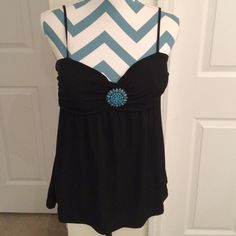 PRICE DROP! Top with turquoise ornamentation. NEW ITEM - Perfect underneath a jacket. Rampage Other