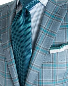 Ermenegildo Zegna | Bold Blue Grey with Teal Plaid Sportcoat | Apparel | Men's