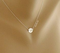 Custom Initial Necklace, Solitary Tiny Disc Charm Sterling silver Necklace, simple daily jewelry, Birthday, Bridesmaid Necklace. $24.00, via Etsy.