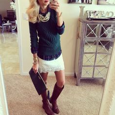 Lace skirt and sweater layered over a plaid button up