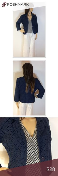 """ADORABLE VALERIE BERTINELLI NAVY EYELET BLAZER Very cute and perfect for spring and summer. Dressy or casual this is a perfect staple piece. Beautiful eyelet cotton material and cropped sleeves. Measurements lying flat Armpit to armpit 18.5"""" Length 21"""" Valerie Bertinelli Jackets & Coats Blazers"""