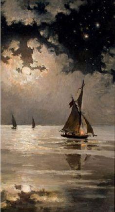 Antonio Muñoz Degrain (Spanish, 1840–1924) Title: Marina con veleros