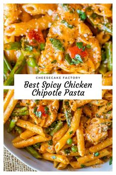 Hi, Do you wanna make Spicy Chicken Chipotle Pasta ? Get full recipes on the site. Spicy Chicken Chipotle Pasta from The Cheesecake Factory with asparagus, bell peppers and peas with honey glazed chicken in a spicy chipotle parmesan cream sauce. Louisiana Chicken Pasta, Spicy Chicken Pasta, Chicken Mozzarella Pasta, Chicken Pasta Recipes, Recipes With Chipotle Sauce, Chicken Bell Pepper Recipes, Fiesta Chicken, Chicken Dips, The Cheesecake Factory