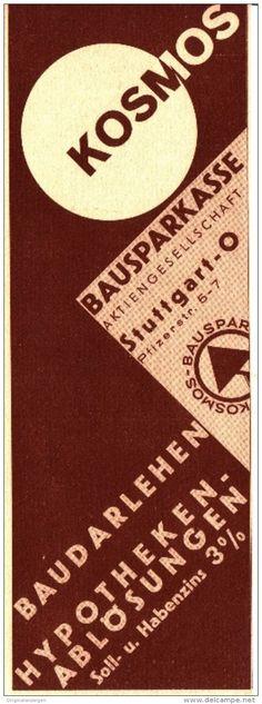 Original-Werbung/ Anzeige 1932 - KOSMOS BAUSPARKASSE - ca. 65 x 200 mm