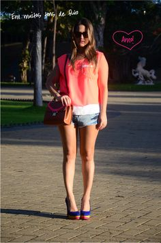 neon shirt, jeans shorts, mini arezzo bag and neon shoes