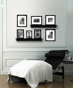 This Black Shelf & Picture Frame idea family room Picture Frame Sets, Picture Groupings, Picture Ideas, Black Shelves, Picture Shelves, Home And Living, Bedroom Furniture, Living Spaces, Living Room