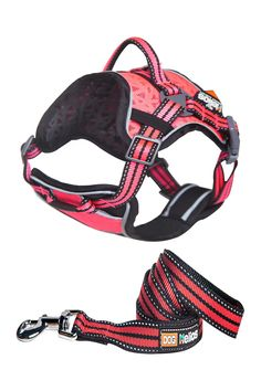 Pink Helios Dog Chest Compression Pet Harness & Leash Combo