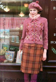 mulberry outfit - the rose with the plaid; Quirky Fashion, Retro Fashion, Vintage Fashion, Moda Hippie, Granny Chic, Knitwear Fashion, Mode Inspiration, Beautiful Outfits, Autumn Winter Fashion