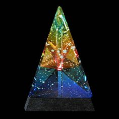 Pyramid by Robert Stephan Sculpture Art, Sculptures, Radiant Energy, Pyramid Scheme, Kaleidoscopes, Glass Paperweights, Lava Lamp, Fractals, Spectrum