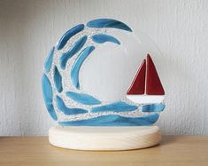 Fused Glass half Circular Panel on Wooden Stand - Seaside Scene - Waves and Sailing Boat- Broken Glass Art, Sea Glass Art, Shattered Glass, Stained Glass Ornaments, Stained Glass Art, Glass Boat, Water Glass, Glass Fusion Ideas, Design Light