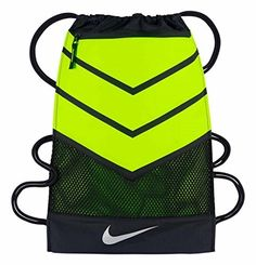 NIKE Vapor 20 Team Training Drawstring Gymsack Backpack 600 Denier Sport Bookbag VoltBlack with Reflective Silver Signature Swoosh >>> Want additional info? Click on the image.