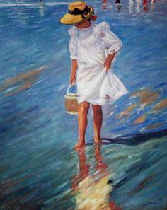 Joaquin Sorolla, La nina en el mar, early c. Spanish Artists, Painting People, Impressionist Art, Paintings I Love, Beautiful Paintings, Oeuvre D'art, Strand, Art Images, Painting & Drawing