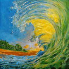 Wanddeko - Leinwanddruck Welle im Sonnenuntergang - ein Designerstück von LeinwandKacheln bei DaWanda