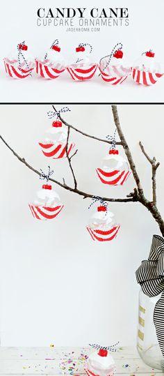 Candy Cane Cupcake Ornaments - Tutorial www.JADERBOMB.com