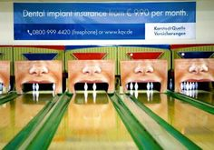 German Insurance company KarstadtQuelle uses bowling lanes to advertise their dental coverage. The bowling pins present teeth. So when you bowl a strike it looks like you just have knocked out all teeth. Guerilla Marketing, Street Marketing, Sports Marketing, Humor Dental, Dental Hygiene, Dental Care, Dental Quotes, Dental Group, Dental Facts