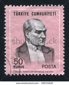 TURKEY - CIRCA 1970: stamp printed by Turkey, shows president Kemal Ataturk, circa 1970. - stock photo