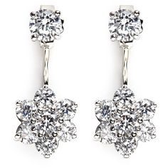 Cz by Kenneth Jay Lane Cubic zirconia floral drop stud earrings ($155) ❤ liked on Polyvore featuring jewelry, earrings, white, stud earring set, white stud earrings, floral stud earrings, white dangle earrings and white jewelry