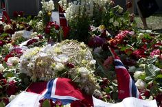 At the Oslo Cathedral. Flowers and condolences laid down in Oslo in connection with the first anniversary of the terrorist attacks in Oslo and on Utøya.