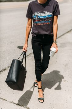 Black Skinnies & Studded Sandals