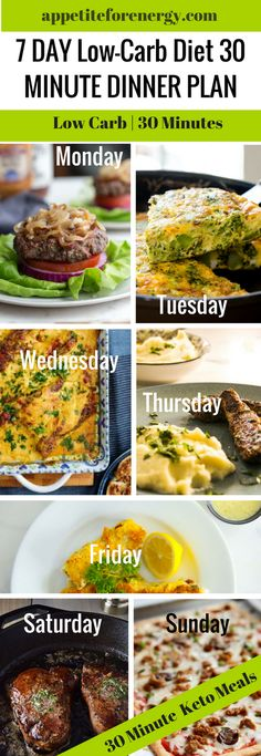 Our 7 Day Low-Carb Diet 30 Minute Meal Plan has next weeks dinner plan done for you. Each meal is low carb, keto-friendly and will be ready in 30 minutes. FOLLOW us for more 30 Minute Recipes. PIN & CLICK through to get the recipes! Ketogenic Diet Meal Plan | Keto Diet Recipes | Keto 30 Minute Recipes | Low Carb Family Meals | gluten free recipes | sugar free recipes | #lowcarbdiet #ketodiet #lowcarbmealplan #weightloss