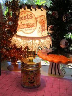 Halloween lamp mason jar candy corn