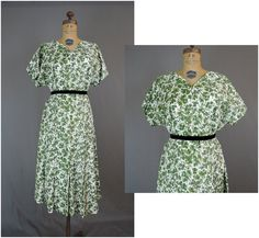 908760a4941b7 Late 1950s White and Green Floral Taffeta Lane Bryant Dress - XL fits 45  inch bust - Vintage