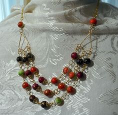 Fruity Pebblz Triple Strand on One Necklace and Earrings by BeadOriginalsbyJudi on Etsy
