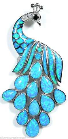 Large Blue Fire Opal Inlay Solid 925 Sterling Silver Peacock Slide Pendant