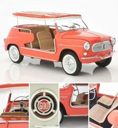 "The Fiat ""Jolly"" beach-buggy, sold from 1958 to 1966, was available in beach pink, coral, white, pale yellow and sky blue. Love the rattan seats!"