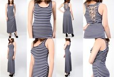 Navy Blue & Cream Striped Scoop Neck Tank Dress Several Sizes Available