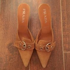 100% AUTHENTIC PRADA HEELS Brown suede Prada low heels. 100% authentic! Very comfortable!!  ( willing to negotiate )  ❌ NO TRADING ❌  FAST SHIPPING   FEEL FREE TO OFFER  Prada Shoes Heels
