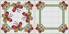 Butterfly biscornu pattern... no color chart available, just use pattern chart as your color guide.. or choose your own colors...