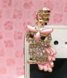 Bling Owl Dust Plug Earphone Jack Plug for Iphone. It will be pretty in silver 2