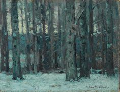 John F. Carlson, American, Twilight in the Woods, 6 x 8, oil on canvas