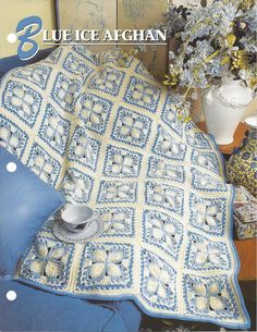 ⌘  ⌘ Padrão Manta Afegã Crochê Azul do Gelo por itens decorativos Malha Criações -  / ⌘  ⌘  Pattern Afghan Blanket Crochet Blue Ice by Knit Knacks Creations -