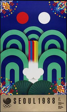 Yong Seung-Choon's poster for the 1988 Seoul Olympic Games / Poster / Graphic / Design / Inspiration / Ideas / Gemetry / Olympic Games / Flag / Seoul / Art Deco / Movement / Geometric / Waterfall / Mountain / Waves /