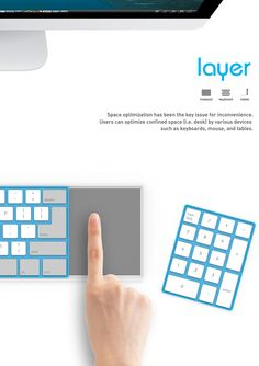 Layer Keyboard – Modular Keyboard by Kim Edo - Hook it up to your system and use the basic keyboard as a modular mouse, number pad, or a sketching input device. Read more at http://www.yankodesign.com/2015/01/14/the-art-of-layering-a-keyboard/#0uV6qXJtoUEF0Hw0.99