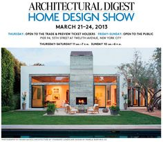 Looking forward to the Architectural Digest Show, Mar.21-24, 2013 @ Pier 94 NYC  www.pattiohome.com
