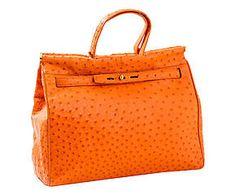 Borsa a mano in struzzo arancione - 36x29x12 cm
