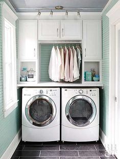 washer dryer with built in cabinets above and hanging clothes rack- LOVE THE BLU. washer dryer with built in cabinets above and hanging clothes rack- LOVE THE BLUE AND WHITE Large Laundry Rooms, Laundry Room Layouts, Laundry Room Remodel, Laundry Closet, Laundry Room Organization, Laundry Room Design, Laundry Area, Laundry Decor, Laundry Drying