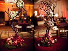 centerpiece // manzanita tree with flowers, #red