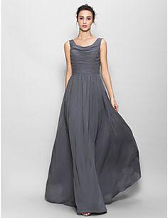andar de comprimento vestido de chiffon dama de honra Lantin... – BRL R$ 377,16