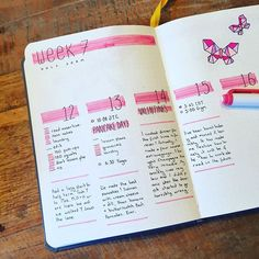 Combining bullet journaling with regular journaling this week. . . . #bulletjournal #bujo #bulletjournalweekly #bulletjournalweeklylog #weeklyspread #butterfly #valentinesday #pink #pancakeday #love