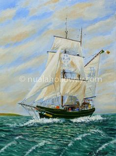 """Asgard II"" (2nd Edition) by Nuala Holloway - Oil on Canvas www.nualaholloway.com #Asgard #TallShips #Maritime #IrishArt #NualaHolloway Irish Art, Tall Ships, Sailing Ships, Seaside, Oil On Canvas, Boat, Dinghy, Beach, Painted Canvas"