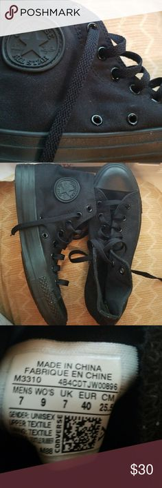 NWOT Black high top Converse These all bnlack high top converse are in EXCELLENT condition. size 7 men's. 9 women's. Converse Shoes Sneakers