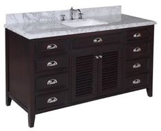 """Kitchen Bath Collection KBC-SH601BRCARR-S Savannah Single Sink Bathroom Vanity with Marble Countertop, Cabinet with Soft Close Function and Undermount Ceramic Sink, Carrara/Chocolate, 60"""""""