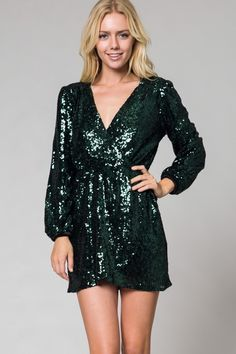 Check out the price on this one! What a deal! Long Sleeve sequi... Shop it here now http://www.rkcollections.com/products/long-sleeve-sequin-wrap-dress